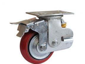 Single Spring PU Korean Shock Absorbing caster with brake