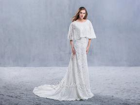Lace Cape Beaded Sheath Bridal Gown