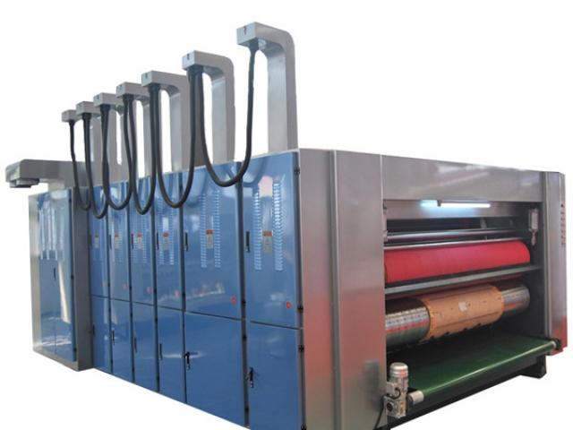 Rotary die-cutting machine with flexo printer