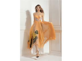 Sweetheart Neckline Strapless Silk Floor-Length Evening Dress
