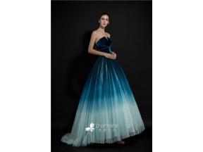 Strapless Open Neckline Tulle Ball Gown Evening Dresses