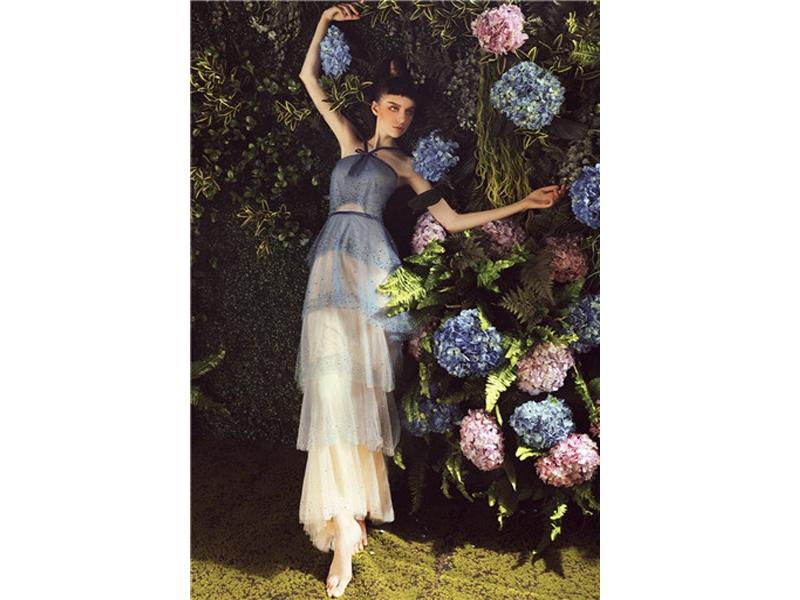 Sleeveless Halter Neckline with Crystal Beading Layered Dress