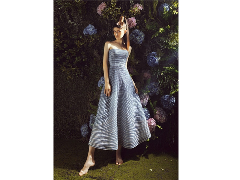 Strapless Sleeveless Crystal Beading Bodice Ankle-Length Evening Dress