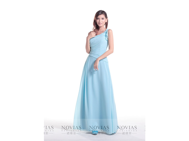 One shoulder long bridesmaid dress