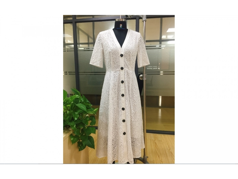 Women woven hollow out dress