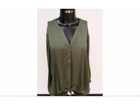women's woven v-neck long sleeve blouse