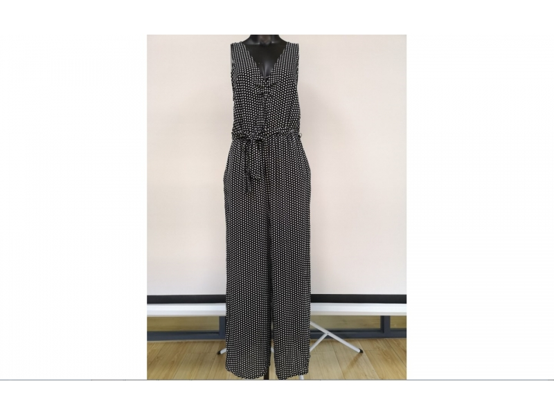 Women's woven v-neck belted jumpsuit