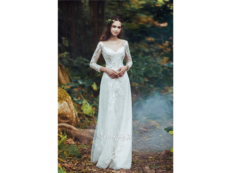 Far-away Neckline Trousers Tulle&Chiffon Wedding Dress lace