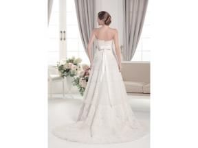 Stunning A-line lace strapless floor-length court train wedding dress Lace and tulle