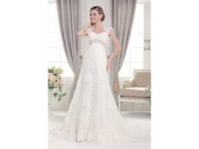 Nice sheer lace straps, A-line sweetheart wedding dress with chaple train Lace and tulle