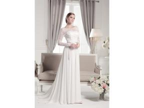 Long lace sleeves backless draped chiffon wedding dress Lace and chiffon