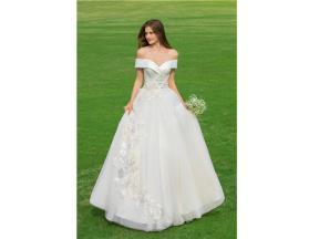 Off-Shoulder Lace Applique A-Line Floor-Length Satin Gown, Lace Up Back Lace, Satin