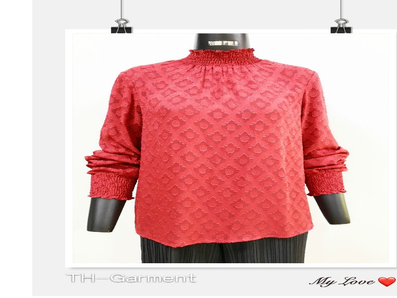 Women's woven long sleeve  top