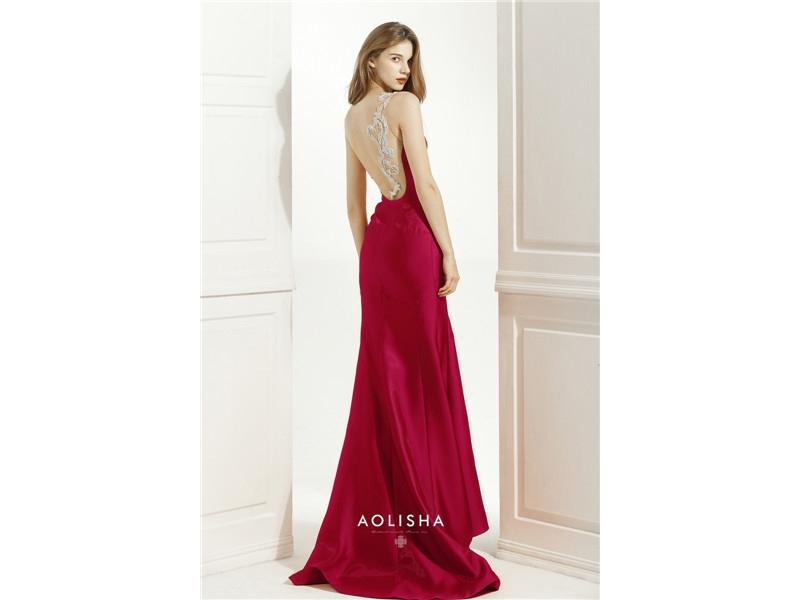 Strapless Sweetheart Neckline Backless Satin Mermaid Dress  Satin, Beads