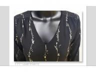 Women's woven v-neck long sleeve  top