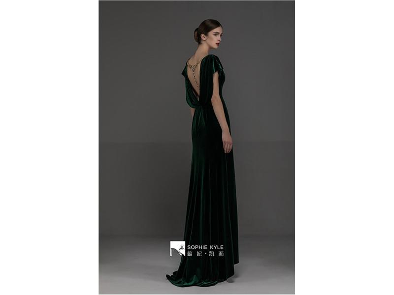 V Neckline Velvet Bodice Sheath Evening Dresses