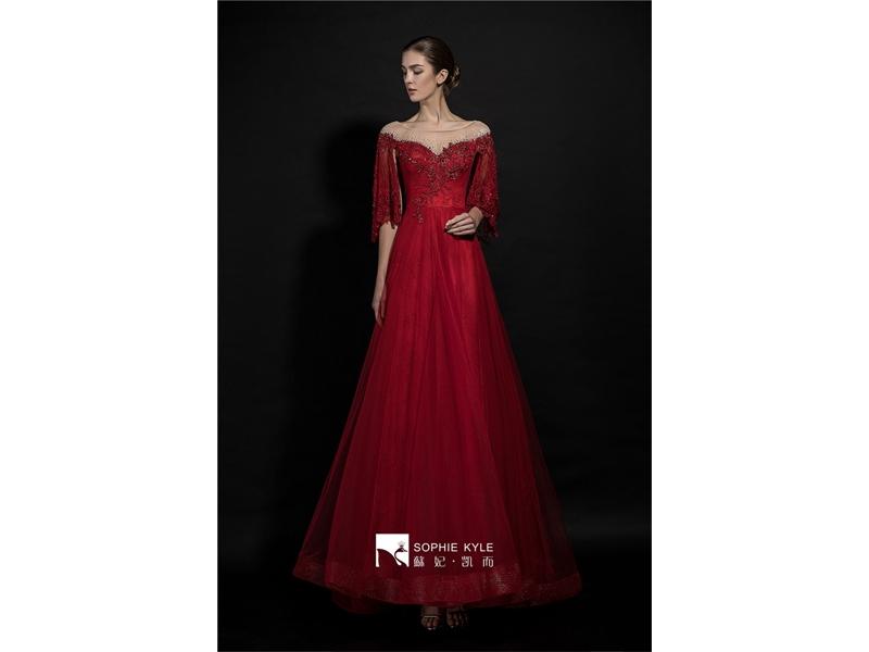Sweatheart Neckline Tulle Bodice Sheath Beaded Evening Dresses  Lace,Pearl