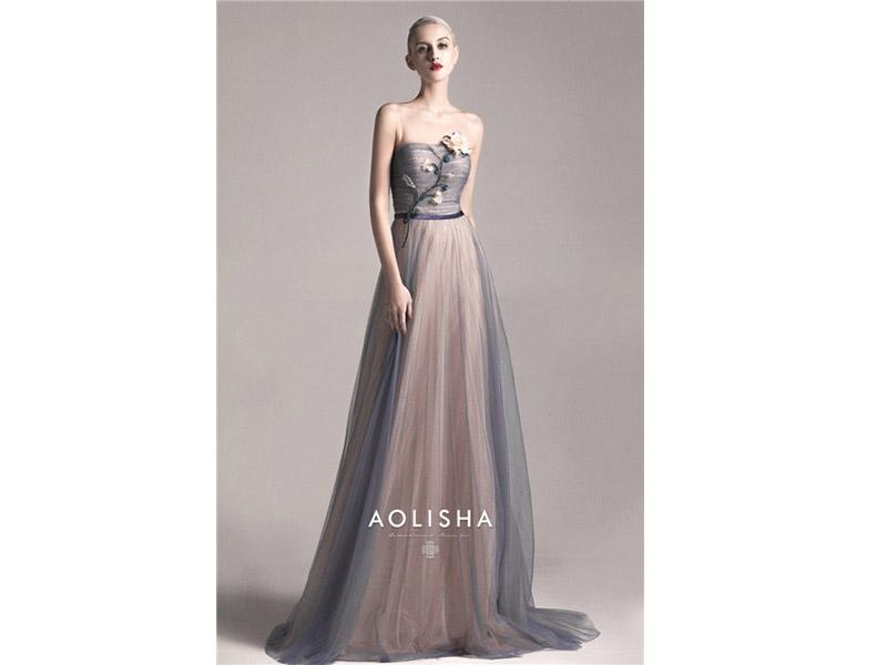 Strapless Sheath Beaded Lace Bodice A Line Tulle&Chiffon Evening Dress  Lace,SWAROVSKI