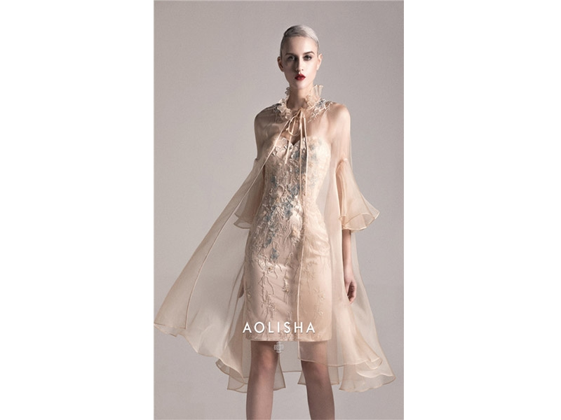 Tullet Jacket Sweetheart Sheath Beaded Colored Lace Bodice Short-Skirt Silk&Chiffon Evening Dres