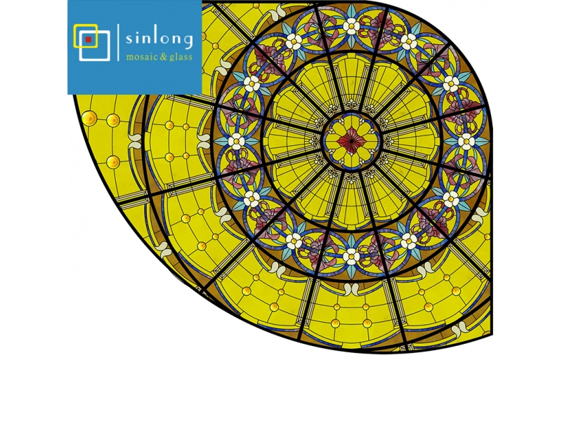 safety colored decorative dome shape stained glass roof for ceiling