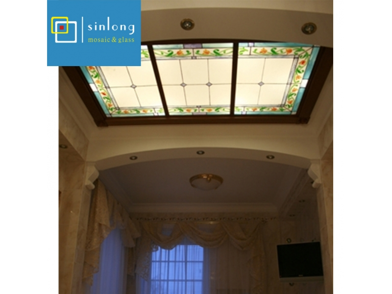 stained glass laminated glass roof skylight  with toughen glass