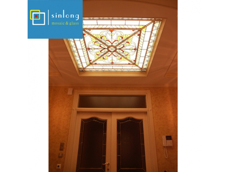 lead round stained glass dome skylight tempered laminated glass stained glass