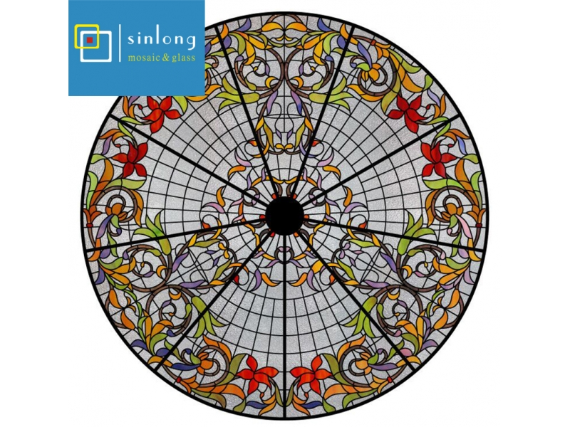 Tiffany Stained Glass Dome Curved for skylight With Insulated Tempered Glass