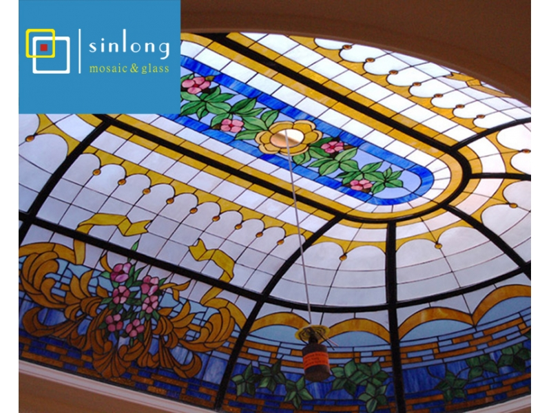 oval glass ceiling ellipse stained glass dome skylight