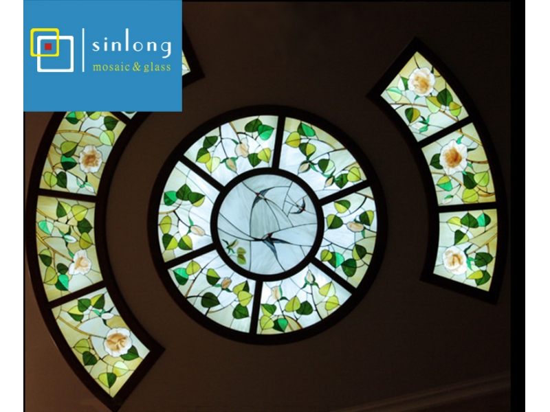 handmade tiffany stained glass roof skylight