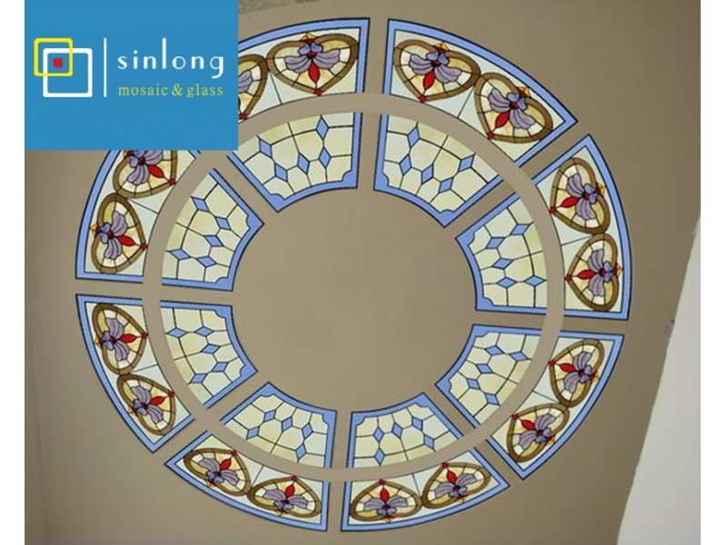 mosque building stained glass ceiling dome
