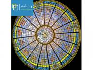 tiffany stained glass dome with curved glass window