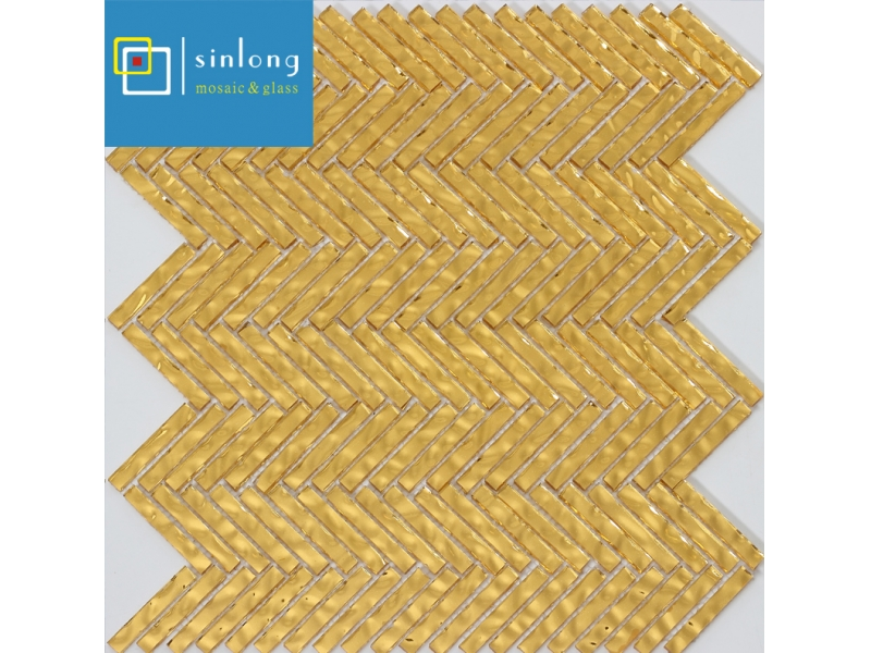 golden glass mosaic tile for wall