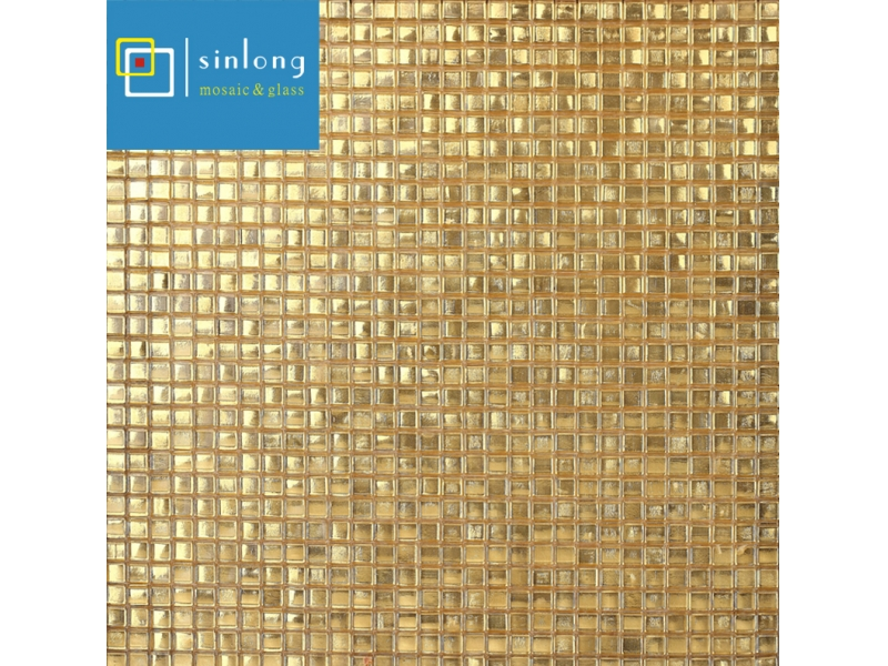 gold mosaic tile square
