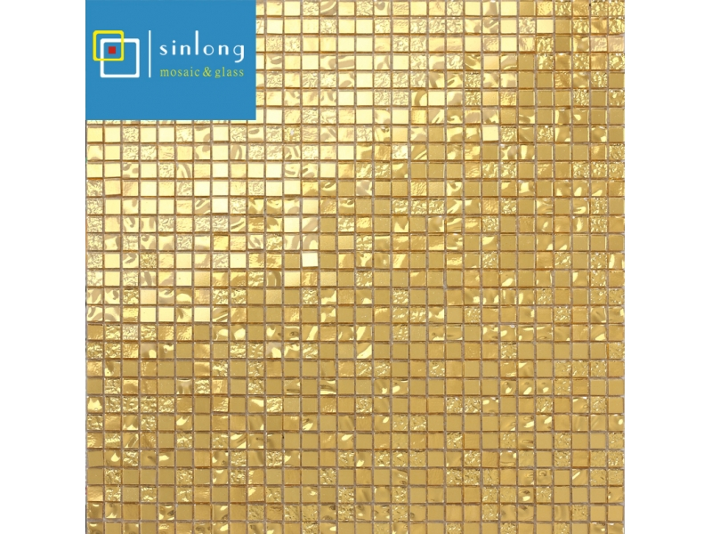 gold foil glass mosaic tiles