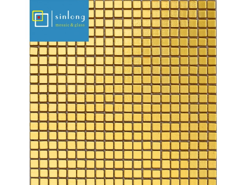 golden bronze glass mosaic tile