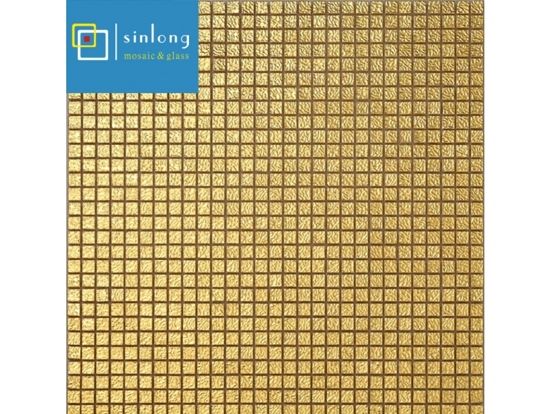 yellow gold glass mosaic tiles