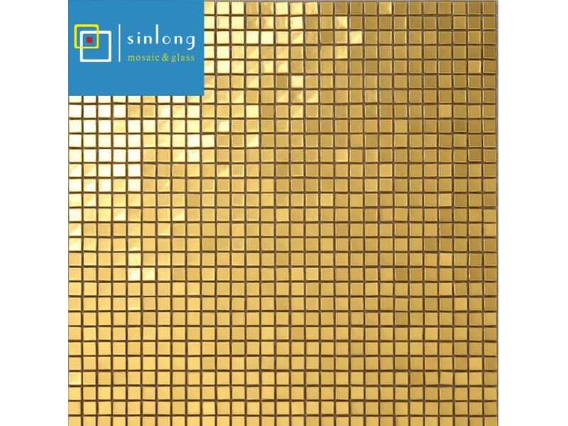 1''x1'' gold mosaic floor tile
