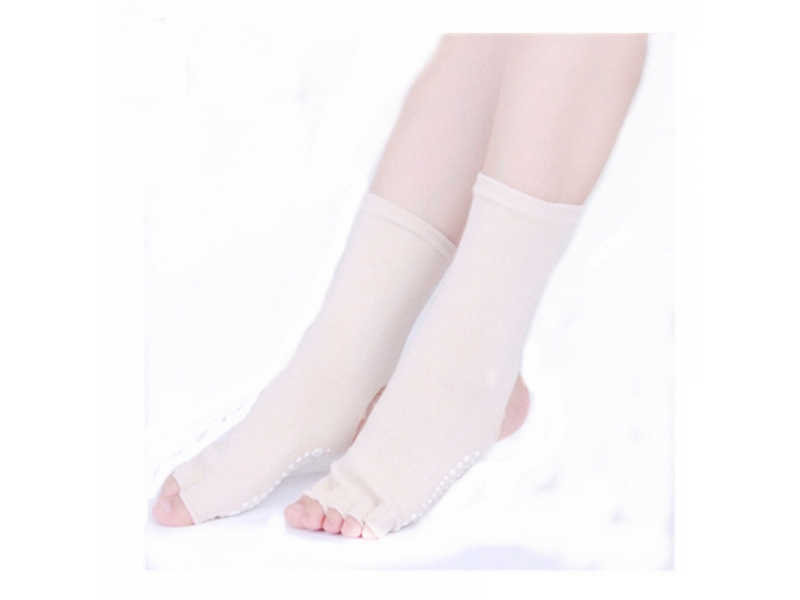 YHAO 2019 New Yoga Women's Anti-slip Socks Pilates Heel Toeless Socks Athletic Fitness Socks Free S