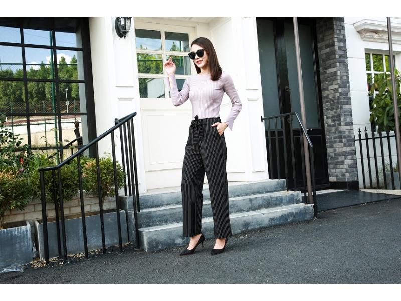 vertical bar chiffon loose  pants