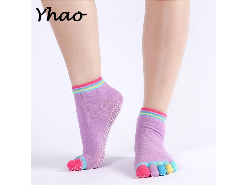 YHAO 2019 Professional Sports Yoga Socks Fitness Cotton Toe Socks Women's Pilates Sox Non-slip Ladi