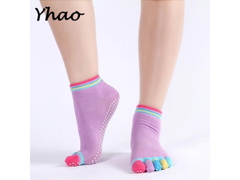 YHAO 2019 Professional Sports Yoga Socks Fitness Cotton Toe Socks Women's Pilates Sox Non-slip Ladi
