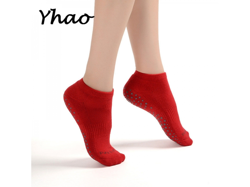 YHAO 2019 Toeless Floor Socks Soft Breathable Women Terry Bottom Slip Proof Yoga Socks Trampoline Ad