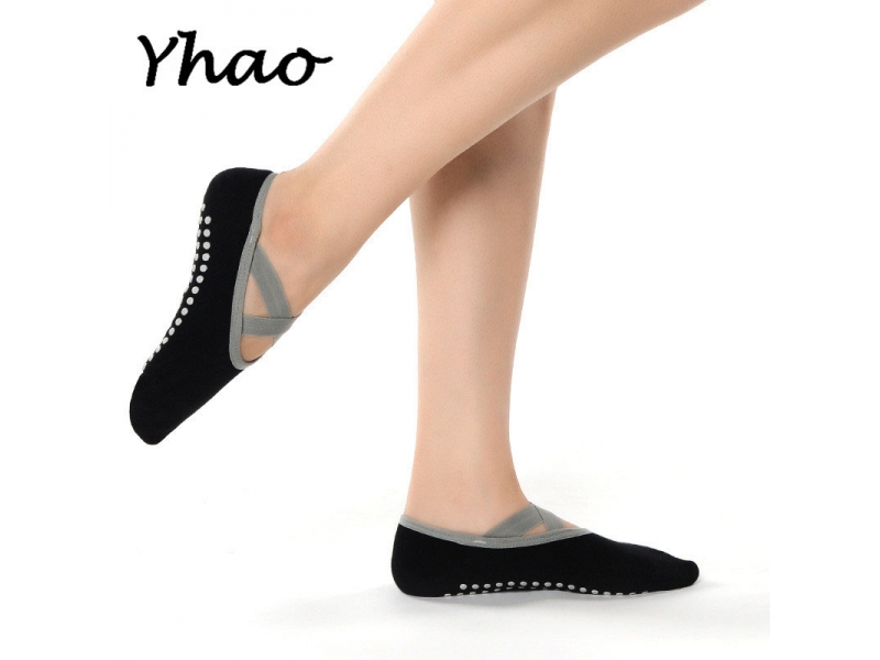 YHAO 2019 Women's Cotton Non-skid Yoga Socks Cross Bandage Dancing Socks Spring and Summer Floor In
