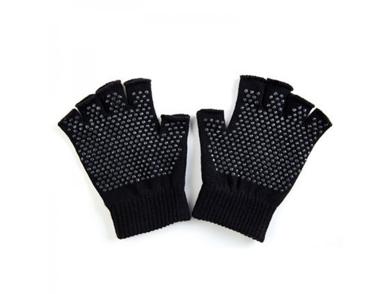 YHAO 2019 Slip-Free Texturizing Beads Black Toeless Acrylic Yoga Gloves