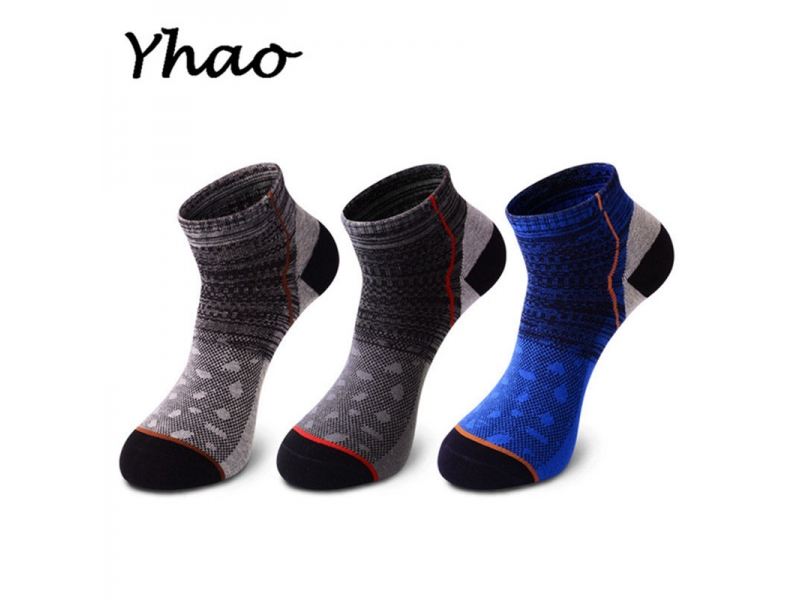 YHAO 2019 NEW 3 Pairs/Lot Outdoor Sports Cotton Socks For Men's Running Camping Hiking Socks