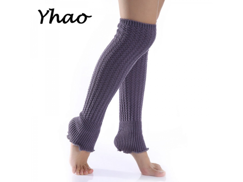 YHAO 2019 Yhao Women Knee-High Yoga Socks Lotus Leaf Latin Ballet Dance Stocking Knitted Socks K Str