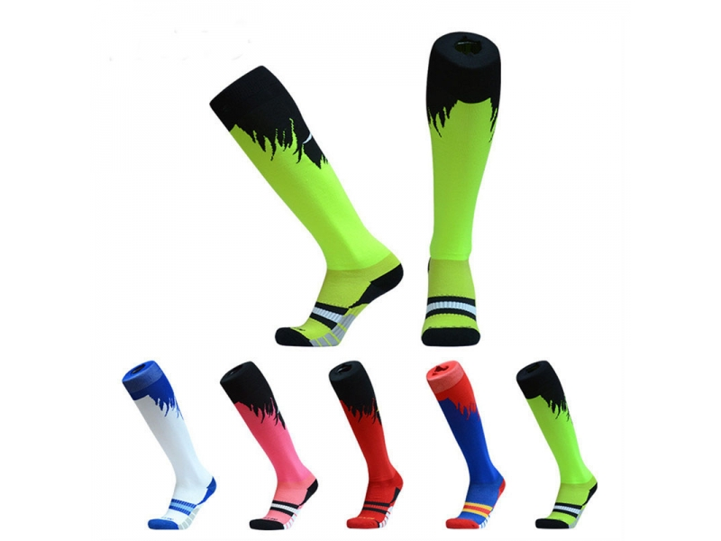YHAO 2019 New Design Professional Soccer Socks Knee High Non-slip Compression Breathable Absorbent M