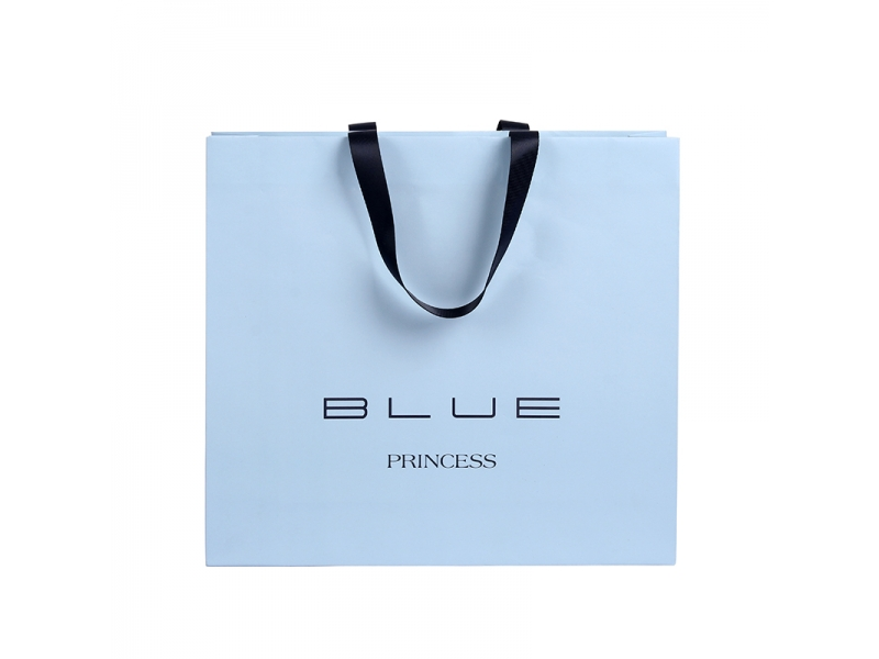 BSCI audit hot sale customized logo  paper bag with ribbon handles