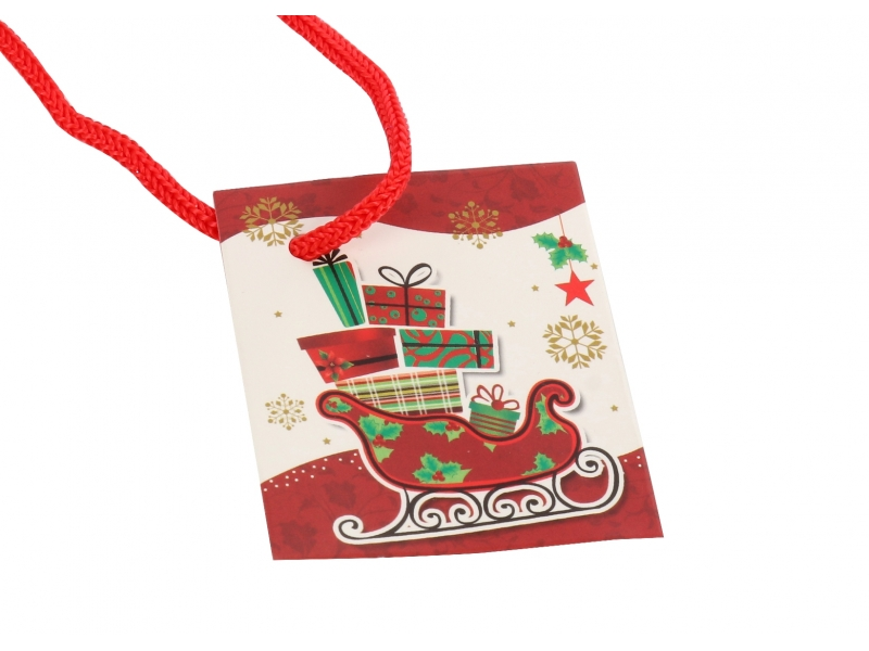Best seller happy christmas glittering&3D finishing gift shopping paper bag with tag