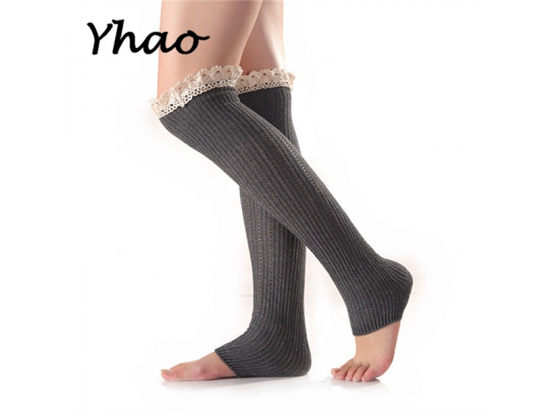 YHAO 2019 Women's New Yoga Knitted Cotton Lace Stockings In Autumn And Winter Yoga Dance Latin Pila